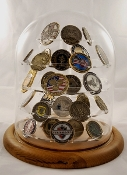 challenge coin holder, Large Glass Dome Coin Display 76 Coins