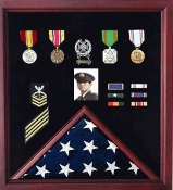 Flag plus Photo Display case, Photo and Medal Display case